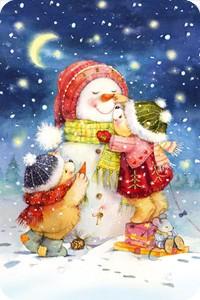 "Магнит ""Мишки лепят снеговика"""