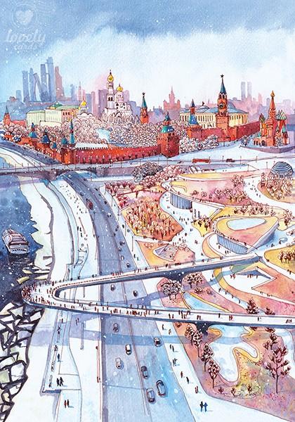 Москва. Парк Зарядье зимой