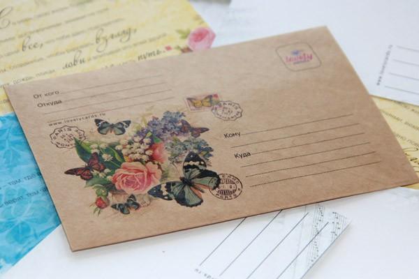 """Крафт-конверт """"Винтажный букет"""""""