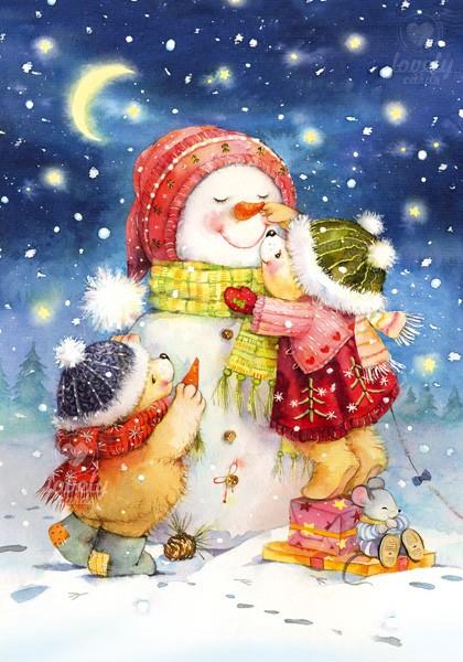Мишки лепят снеговика