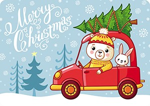 Мишка в машине. Мини-открытка