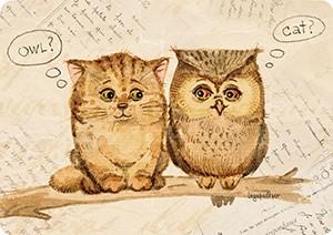 Кот и сов. Мини-открытка