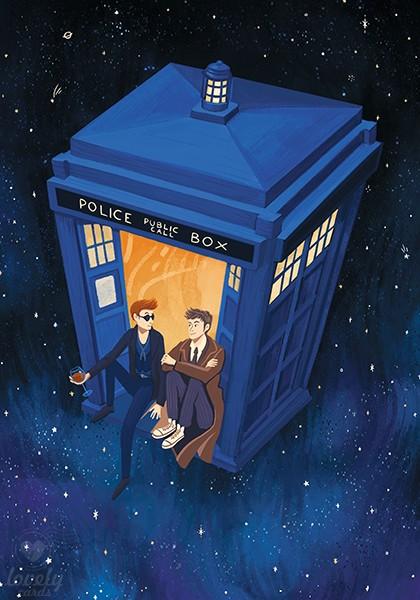 Доктор и Кроули в Тардис